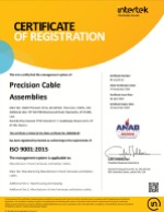 iso 9001 cable assemblies, about precision cable assemblies, iso 90012015 certification, precision cable assemblies, molded cable assemblies